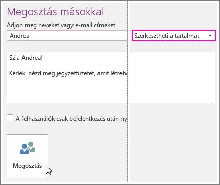 Képernyőkép a OneNote 2016-ban a felhasználói Felület megosztása.