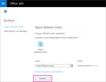 A Skype Vállalati online verzió telepítéséhez válassza a Telepítés lehetőséget.