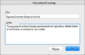 A Helyettesítő szöveg párbeszédpanel Mac Sierra rendszerben