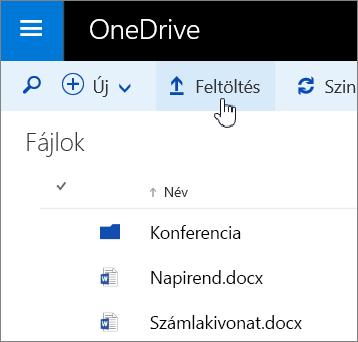 A Feltöltés gomb az Office 365-höz készült OneDrive Vállalati verzióban