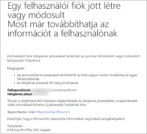 Egy ehhez hasonló e-mailben meg fogja kapni az új felhasználó felhasználónevét és jelszavát.
