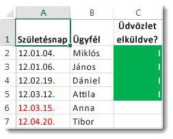 Példa a feltételes formázásra az Excelben