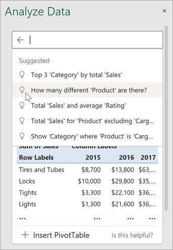 Az Excel alkalmazásban az ötletek az Ön adatainak elemzése alapján felkínált kérdéseket tesznek fel.