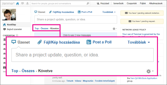 A Yammer webhely a Top, az All és a Following nézettel