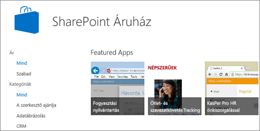 Kép a SharePoint Áruházban elérhető appokról
