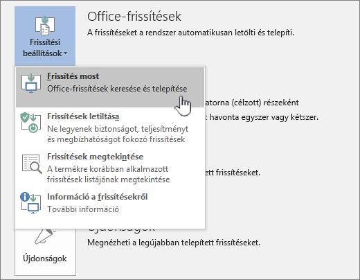 Az Office Insider-frissítések beszerzése gomb