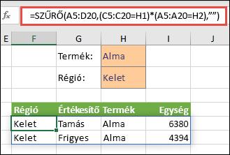 """A SZŰRŐ függvényt a szorzás műveleti jelével (*) használva az összes olyan értéket megkapja a tömbtartományban (A5:D20), amelyben szerepel az """"alma"""" szó, ÉS amelyek a keleti régióba tartoznak."""