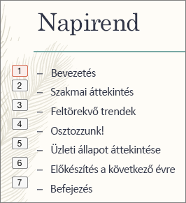 A lista minden jele a bal oldalon található kis mezőben mutatja az animációk sorrendjét