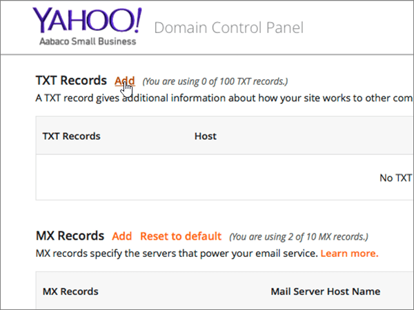 Click Add on the Domain Control Panel page