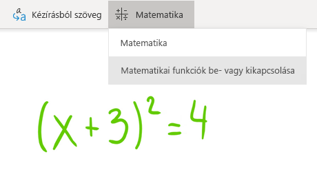 A Matematika gomb a Windows 10 OneNote-ban