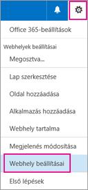 Kattintson a jobb felső sarokban látható Beállítások gombra, és válassza Webhely beállításai lehetőséget.