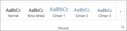 Képernyőkép a Kezdőlap Stílusok csoportjáról, amelyben bizonyos stílusok láthatók, például Címsor 1, Címsor 2 és Címsor 3.