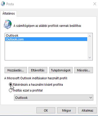 Az Outlook Profilok párbeszédpaneljének képe