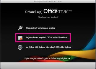 A Mac Office telepítőjének kezdőlapja, ahol bejelentkezhet egy meglévő Office 365-előfizetésbe.