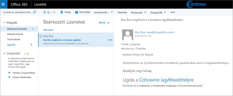 Egy ügyfélalwebhely elérésére szóló meghívót tartalmazó minta e-mail.