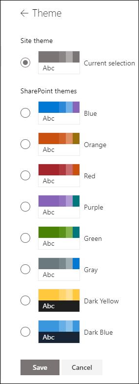 A SharePoint-webhely témájának módosítása