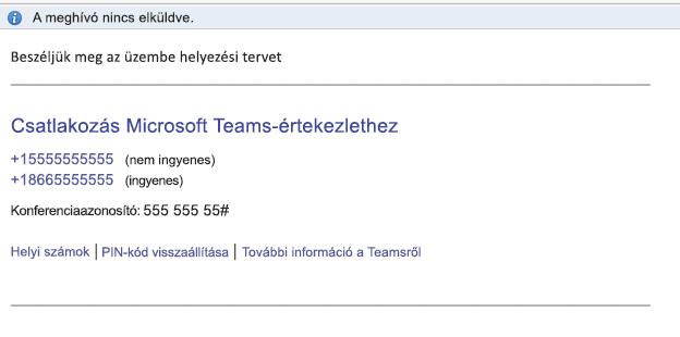 A Csatlakozás Microsoft Teams-értekezlethez hivatkozás az esemény törzsében