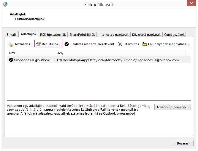 Exchange-fiók adatfájl-beállításának módosítása a Fiókbeállítások között
