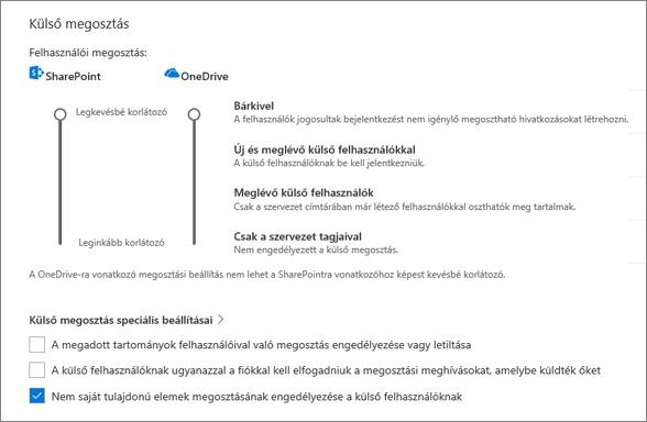 A külső megosztás beállításai a OneDrive Felügyeleti központ Megosztás lapján