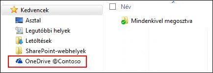 Szinkronizált OneDrive Vállalati verzióbeli tár a Kedvencek között a Windowsban