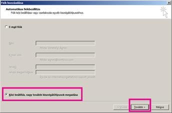 Kézi beállítás használata az Outlook 2013-ban
