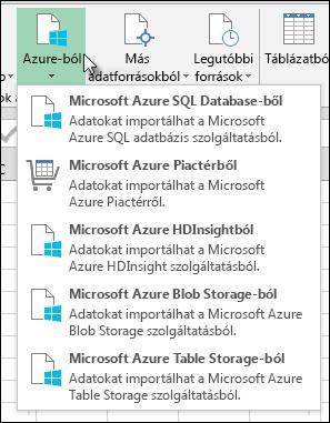A Power Query importálása az Azure párbeszédpanel
