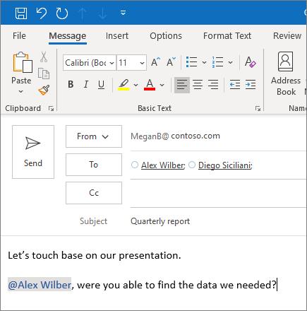 A @megemlítés funkció az Outlookban