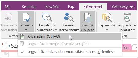Képernyőkép a OneNote 2016 Elolvasva gombjáról
