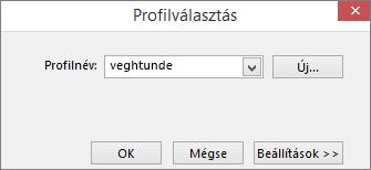 A Profilválasztás párbeszédpanel az új profil nevével
