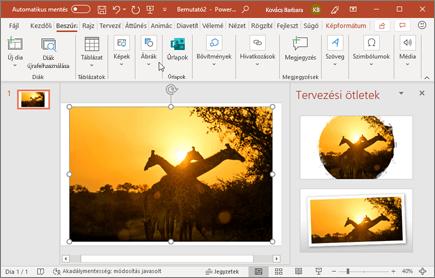 A Tervezővel egyetlen kattintással továbbfejleszthetők a diákon lévő fényképek.