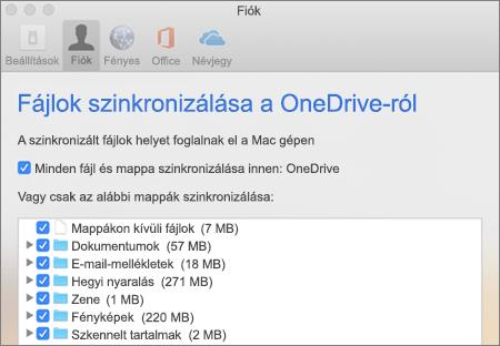 A Mac OneDrive Mappák szinkronizálása párbeszédpanelje