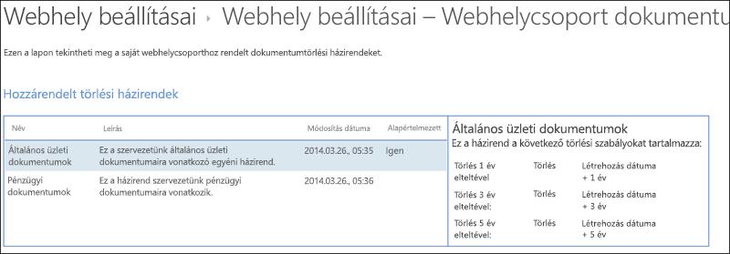 Dokumentum törlése házirendek webhelycsoport rendelt