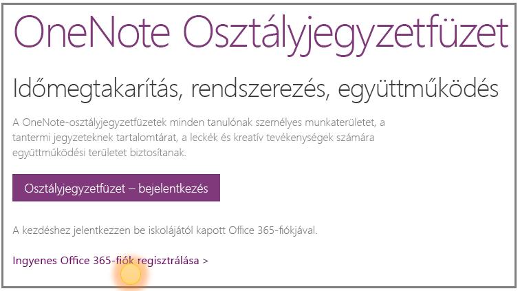 Képernyőkép: ingyenes Office 365-fiók regisztrálása.