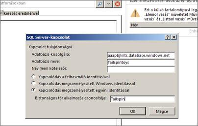 Az SQL Server-kapcsolati párbeszédpanel, ahol megadhatja az SQL Azure-adatbáziskiszolgáló nevét, illetve használhatja a Kapcsolódás megszemélyesített egyéni identitással lehetőséget a Biztonságos tár alkalmazás azonosítójának megadásához.