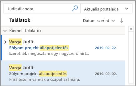 Az Outlook keresési eredményeinek megjelenítése