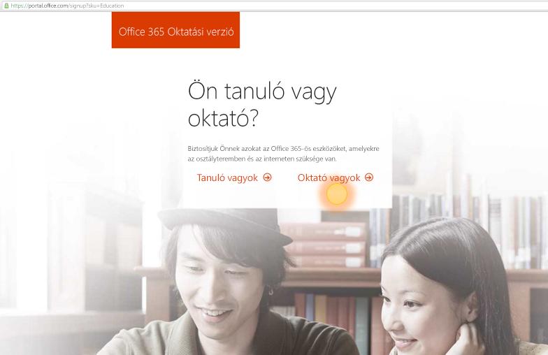 Képernyőkép a tanári és a tanulói bejelentkezési lehetőségekről