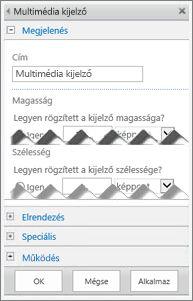 A Multimédia kijelző szerkesztési ablaktáblájának képe néhány konfigurálható tulajdonsággal