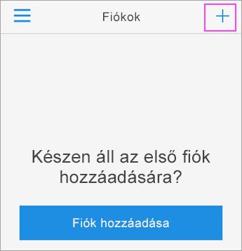 Koppintson a + jelre az Azure Authenticator appban.