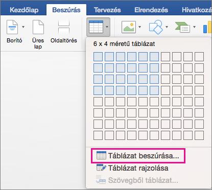 Az egyéni táblázat létrehozásához használható Táblázat beszúrása elem kiemelve