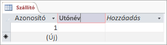 Képernyő kódtöredékének mező egy jól értelmezhető nevet oszlop hozzáadása