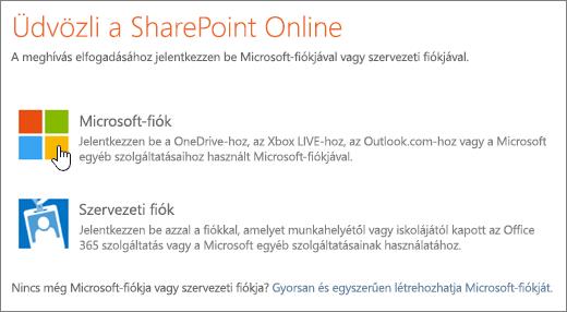 Képernyőkép a SharePoint Online bejelentkezési képernyőjéről