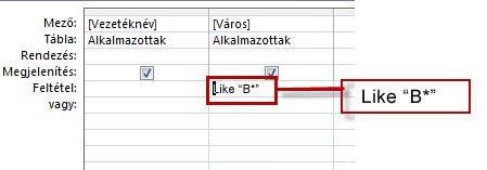 """A """"Like"""" lekérdezési feltétel"""