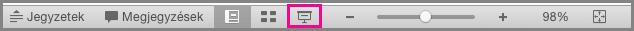 A Mac PowerPoint Diavetítés ikonja az állapotsoron