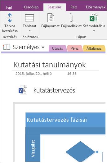 Képernyőkép arról, hogy miként adhat hozzá egy meglévő Visio-diagramot a OneNote 2016-ban