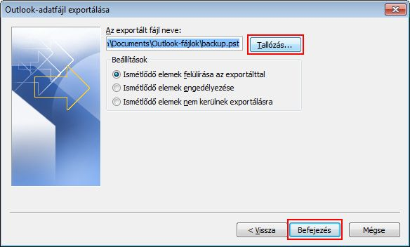 Specify the backup data location and file name.