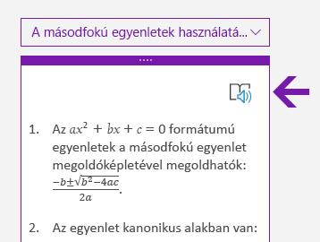 A Modern olvasó ikonja a Matematika panelen a Windows 10 OneNote-ban