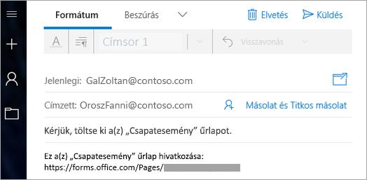 Küldjön az űrlapra mutató hivatkozás e-mailben