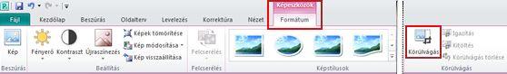 Menüszalag a Képeszközök formátum lap Körülvágás parancs a Publisher programban