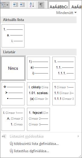 A többszintű listák gombra kattintva adhat hozzá számozást beépített címsorstílus, például Címsor 1, a dokumentum címsorra.