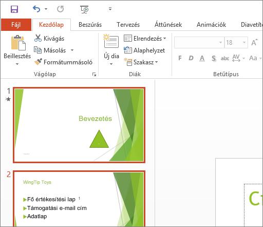 A PowerPoint 2016 megjelenítése a Fehér témával.
